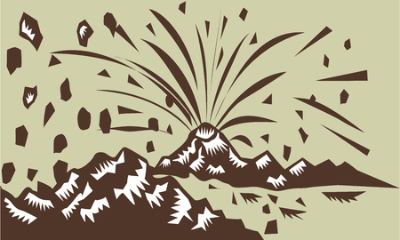 printmaking: Illustration of a volcano erupting volcanic eruption resulting to island formation done in retro woodcut style.