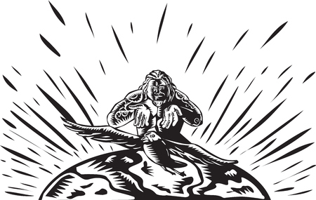 populate: Illustration of Samoan legend god Tagaloa releasing his plover bird daughter to come down to the earth island to populate them done in retro woodcut style