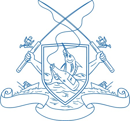 Drawing sketch style illustration of hand holding fishing rod and reel hooking a beer bottle and blue marlin fish with deep sea fishing boat on side set inside crest shield shape coat of arms done in retro style.