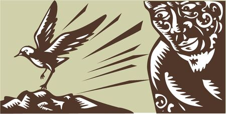 printmaking: Illustration of Samoan legend god Tagaloa peeking looking at his plover bird daughter land to a treeless island done in retro woodcut style.