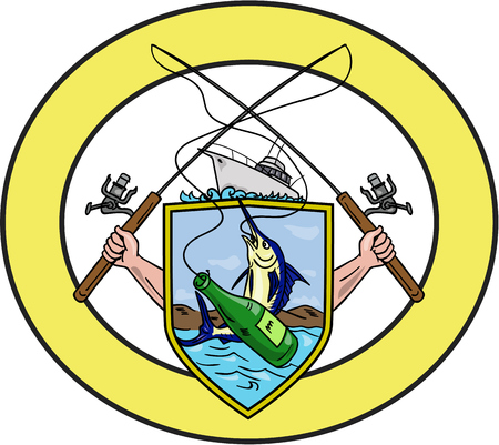 Drawing sketch style illustration of hand holding fishing rod and reel hooking a beer bottle and blue marlin fish set on a shield coat of arms with fishing boat on top set inside oval shape done.