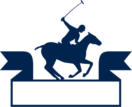 Illustration of a polo player riding horse with polo stick mallet viewed from the side set on isolated white background with ribbon done in retro style. Illustration
