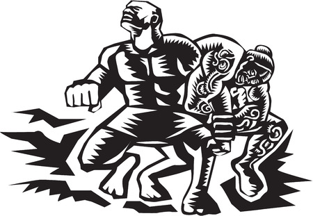 Illustration of Samoan legendTiitii wrestling the God of Earthquake and breaking his arm done in retro woodcut style. Ilustrace
