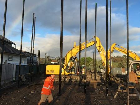 building foundation: AUCKLAND, JUN. 16: Construction workers setting up building foundation at project construction work site in Auckland, New Zealand taken on June 16, 2016.
