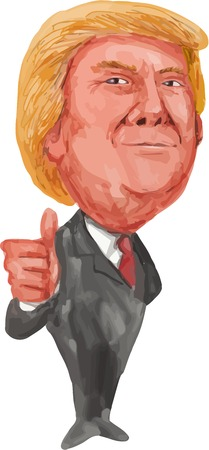 donald: Watercolor illustration showing American real estate magnate, television personality, politician and Republican 2016 presidential candidate Donald John Trump thumbs up isolated background done in cartoon style.