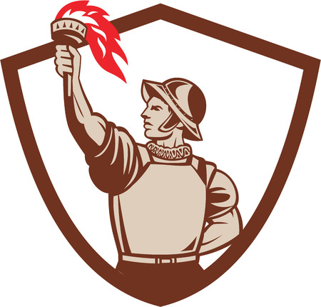 Illustration of a spanish conquistador looking to the side with one head at the back and the other hand lifting raising torch set inside shield crest on isolated background done in retro style.