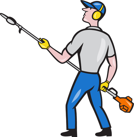 muffs: Cartoon style illustration of male gardener holding hedge trimmer looking to the side viewed from rear set on isolated white background.
