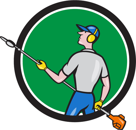 muffs: Cartoon style illustration of male gardener holding hedge trimmer looking to the side viewed from rear set inside circle on isolated background.