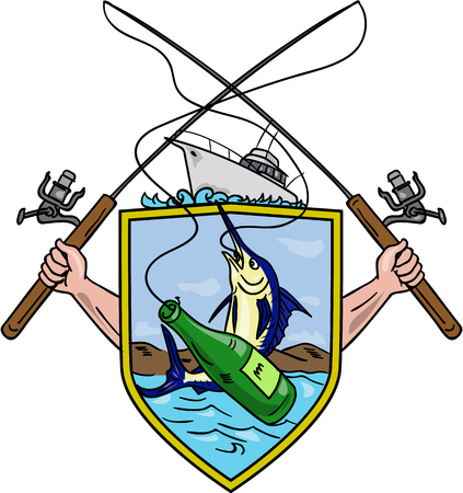 Drawing sketch style illustration of hand holding fishing rod and reel hooking a beer bottle and blue marlin fish set inside crest shield shape coat of arms with deep fishing boat on done.