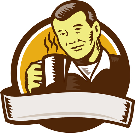 printmaking: Illustration of an asian man holding cup mug drinking coffee viewed from front set inside circle done in retro woodcut style.