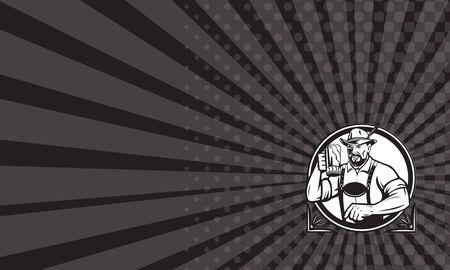 the drinker: Business card showing Black and white illustration of a German Bavarian beer drinker raising beer mug for Oktoberfest toast wearing lederhosen and German hat set inside circle done in retro style.