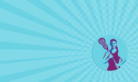 crosse: Business card showing illustration of a female lacrosse player holding lacrosse stick facing front set inside circle on isolated background done in retro style. Stock Photo