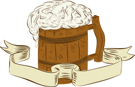 Drawing sketch style illustration of a medieval beer mug with foam set on isolated white background with ribbon done in retro style. Illustration