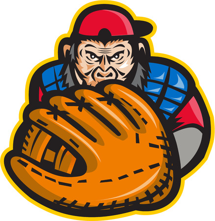 Illustration of chimpanzee baseball player catcher with glove in front set on isolated white background done in retro style.