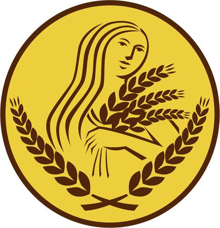 diosa griega: Ilustración que muestra el Demeter, diosa griega de la cosecha y la agricultura, que presidió la celebración de la fertilidad y granos grano de trigo visto de frente fijó dentro de forma ovalada en el fondo aislado hecho en estilo retro.