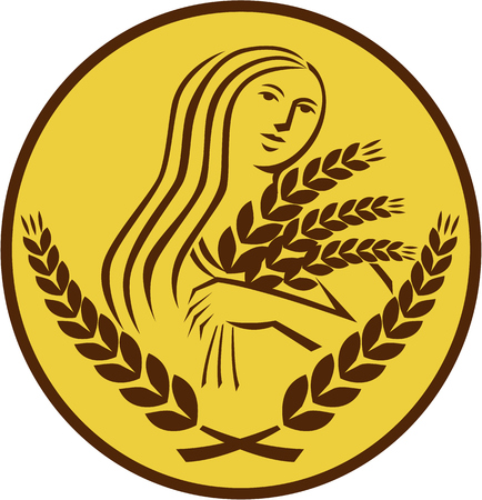 Illustration showing Demeter, Greek goddess of the harvest and agriculture, who presided over grains and fertility holding wheat grain viewed from front set inside oval shape on isolated background done in retro style.