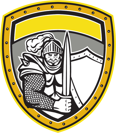 visor: Illustration of a knight in full armor with open visor holding sword and shield viewed from the front set inside shield crest done in retro style.