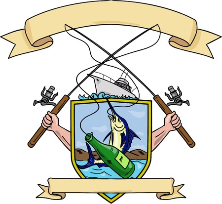hooking: Drawing sketch style illustration of hand holding fishing rod and reel hooking a beer bottle and blue marlin fish with deep sea fishing boat on side set inside crest shield shape coat of arms done in retro style.