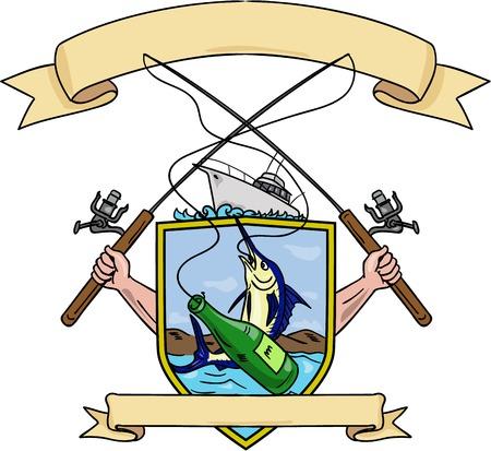 barca da pesca: Schizzo di disegno stile illustrazione di mano che tiene canna da pesca e mulinello agganciando una bottiglia di birra e pesce marlin blu con barca da pesca d'altura sul set lato interno cresta scudo cappotto forma di armi fatte in stile retrò.