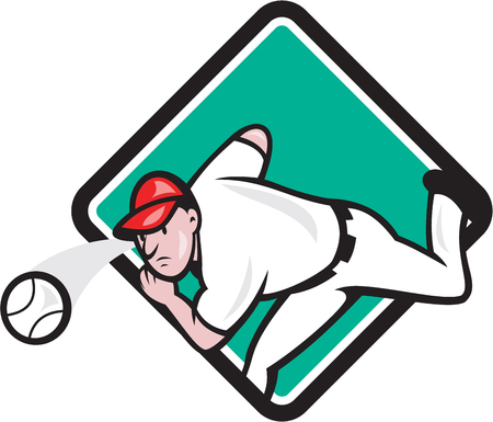 outfielder: Illustration of an american baseball player pitcher outfilelder throwing ball set inside diamond shape on isolated background done in cartoon style.