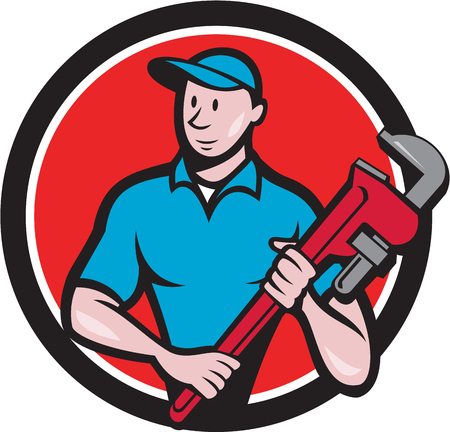 Illustration of a plumber in overalls and hat standing looking to the side holding monkey wrench viewed from front set inside circle on isolated background done in cartoon style. 일러스트