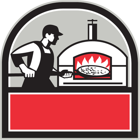 woodfire: Illustration of a baker pizza maker cook holding a peel with pizza pie into a wood fired oven viewed from side set inside shield crest done in retro style. Illustration