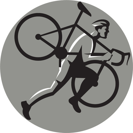crosscountry: Illustration of a cyclocross athlete running carrying bicycle on shoulder viewed from the side set inside circle on isolated background done in retro style.