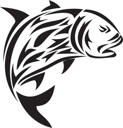 Tribal art style illustration of a giant trevally, Caranx ignobilis  also known as giant kingfish, lowly trevally, barrier trevally, or ulua a species of large marine fish in the jack family, Carangidae jumping viewed from the side set on isolated white b Illustration