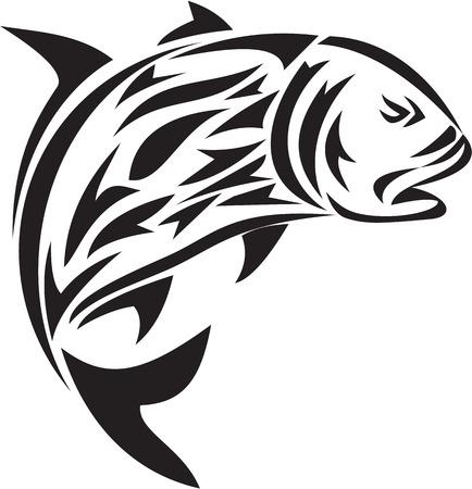 humilde: Tribal ejemplo del estilo del arte de un gigante de jurel, Caranx también ignobilis conoce como pez rey gigante, jurel humilde, jureles barrera, o ulua una especie de peces marinos de gran extensión en la familia de Jack, Carangidae salto se ve desde el lado en conjunto aislado b blanco Vectores
