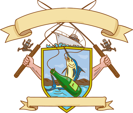 hooking: Drawing sketch style illustration of hand holding fishing rod and reel hooking a beer bottle and blue marlin fish with mountain land in the background set inside crest shield shape coat of arms with ribbon done in retro style.