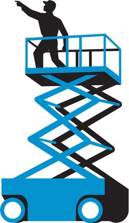 plataforma: Ilustración de un trabajador en un elevador de tijera o selector de cereza y también conocido como una plataforma de trabajo aéreo (AWP), dispositivo aéreo, plataforma para trabajo (EWP), o una plataforma elevadora móvil de personal (PEMP), señalando ven desde el lado fijado en aislado Fondo del blanco Vectores