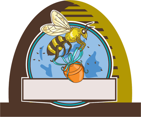 honey pot: Drawing sketch style illustration of a worker honey bee carrying a honey pot with ribbon viewed from the side set inside circle in a skep. Illustration
