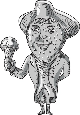 facing: Drawing sketch style illustration of a victorian gentleman with strawberry head wearing tricorn hat holding ice cream cone facing front set on isolated white background done in black and white. Illustration