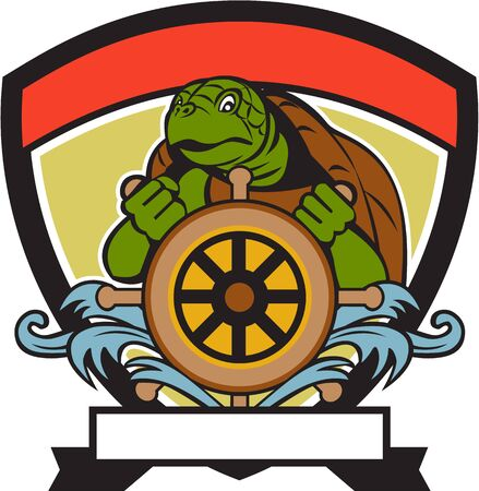 sterring: Illustration of a ridley turtle at the helm sterring wheel viewed from front set inside crest shield done in retro style.