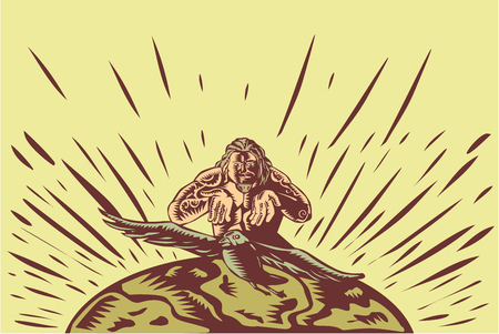 printmaking: Illustration of Samoan legend god Tagaloa releasing his plover bird daughter to come down to the earth island to populate them done in retro woodcut style