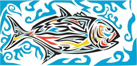 ethnographic: Tribal art style illustration of a giant trevally, Caranx ignobilis  also known as giant kingfish, lowly trevally, barrier trevally, or ulua a species of large marine fish in the jack family, Carangidae viewed from the side set on isolated white backgroun