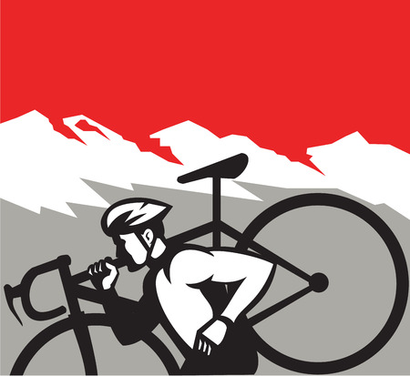 crosscountry: Illustration of a cyclocross athlete running carrying bicycle on shoulder viewed from the side set inside square shape with alps mountain in the background done in retro style. Illustration