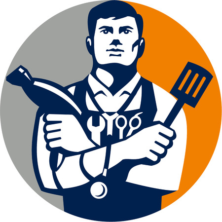 blow: Illustration of a jack of all trades holding a blow dryer and spatula, with stethoscope on neck and spanner and barber scissors in apron facing front set inside circle on isolated background done in retro style. Illustration