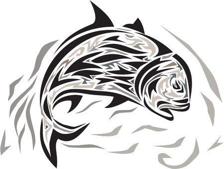 humilde: Tribal art style illustration of a giant trevally, Caranx ignobilis  also known as giant kingfish, lowly trevally, barrier trevally, or ulua a species of large marine fish in the jack family, Carangidae jumping diving down viewed from the side set on isol Vectores