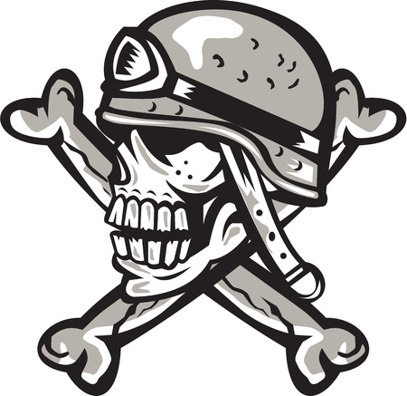 skull with crossed bones: Illustration of a skull looking to the side wearing a military helmet viewed from the side with crossed bones at back set on isolated white background done in retro style.
