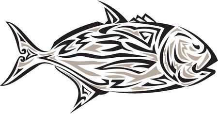 humilde: Tribal ejemplo del estilo del arte de un gigante de jurel, Caranx también ignobilis conoce como pez rey gigante, jurel humilde, jureles barrera, o ulua una especie de peces marinos de gran extensión en la familia de Jack, Carangidae se ve desde el lado conjunto aislados backgroun blanco