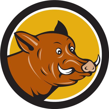 jabali: Ilustración de una pista razorback jabalí cerdo salvaje de sorpresa se ve desde el lado del conjunto dentro del círculo hecho en estilo de dibujos animados. Vectores