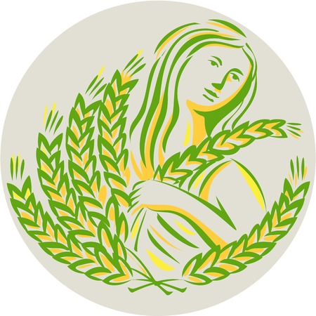 wheat harvest: Illustration showing Demeter, Greek goddess of the harvest and agriculture, who presided over grains and fertility holding wheat grain looking to the side viewed from front set inside circle done in retro style. Illustration