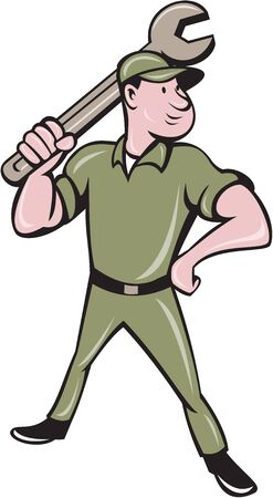 tradesman: Illustration of a mechanic standing wielding holding spanner wrench looking to the side viewed from front set on isolated white background done in cartoon style.