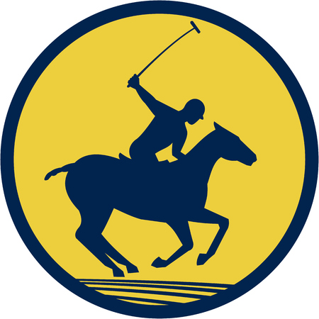 Illustration of a polo player riding horse with polo stick mallet viewed from the side set inside circle on isolated background done in retro style