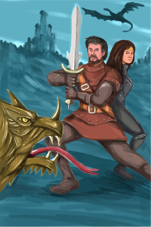 foreground: Watercolor style illustration of a cavalier or knight brandishing a sword in fighting stance with a Princess behind him fighting a mythical dragon in the foreground and castle in background.