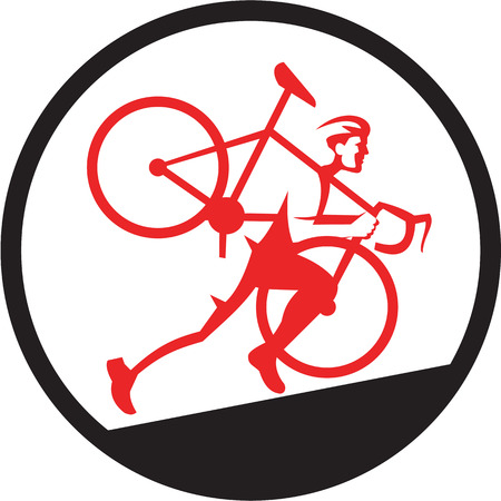 uphill: Illustration of a cyclocross athlete carrying bicycle on shoulder running uphill viewed from the side set inside circle on isolated background done in retro style.