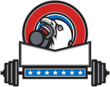 looking up: Illustration of an american bald eagle head looking up to the side lifting kettleball with beak set inside circle with barbell and stars done in retro style. Illustration