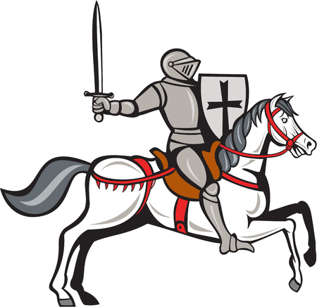 steed: Cartoon style illustration of a knight wearing armor riding on his steed horse holding shield and wielding sword viewed from the side set on isolated white background.