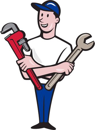 guy standing: Illustration of a repairman handyman worker wearing hat standing holding spanner and monkey wrench looking to the side viewed from front set on isolated white background done in cartoon style.